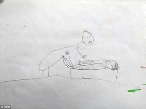 Heart-breaking sketches drawn by 5-year-old girl shows how